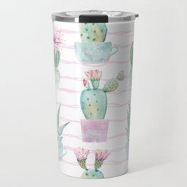 Cute Potted Cacti Stripe Pattern Travel Mug
