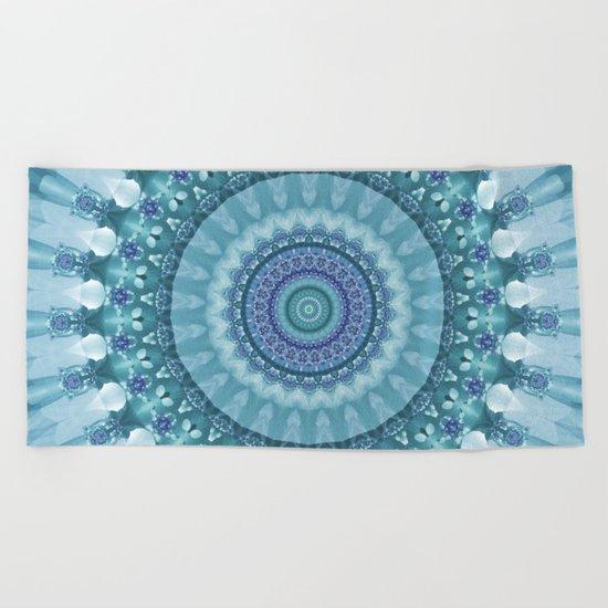 Turquoise and Navy Mandala Beach Towel