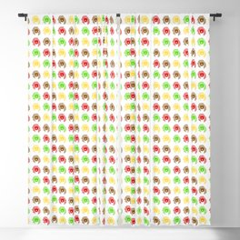 A pattern of colorful drawings of coffee bears. Blackout Curtain