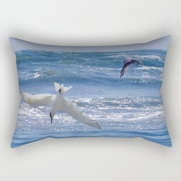 Terns diving into the ocean Rectangular Pillow