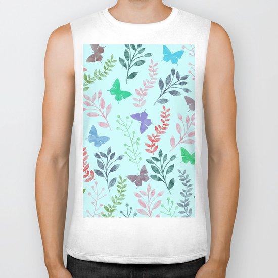 Watercolor flowers & butterflies II Biker Tank