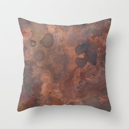 Tarnished, Stained and Scratched Copper Metal Texture Industrial Art Throw Pillow