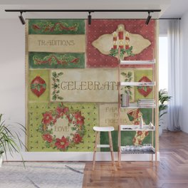 Celebrate Christmas Traditions Vintage Style Collage, Joy, love, family & friends Wall Mural