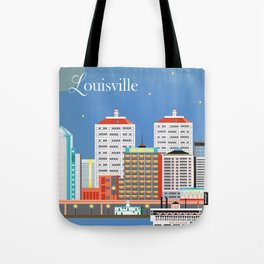 Louisville, Kentucky - Skyline Illustration by Loose Petals Tote Bag
