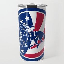 American Jockey Horse Racing USA Flag Icon Travel Mug
