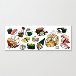 Sushi White Canvas Print