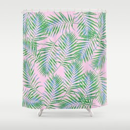 Fern Leaves Pink Shower Curtain