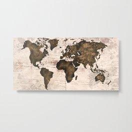 Coffee World Map Metal Print