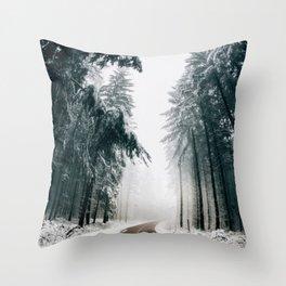 Winding Winter Roads Throw Pillow