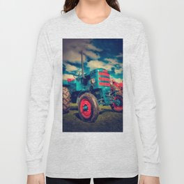 Cool Blue Red Vintage Tractor Long Sleeve T-shirt