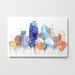 Kansas Watercolor Skyline Metal Print