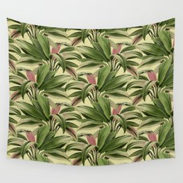 Cordyline Princess Margaret Watercolor Cream Pattern Wall Tapestry
