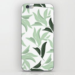 Abstract modern green pastel color leaves floral iPhone Skin