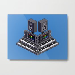 Electronic music altar — isometric pixel art Metal Print