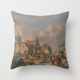 David Hodgson 1798 - The Haymarket, Norwich Throw Pillow