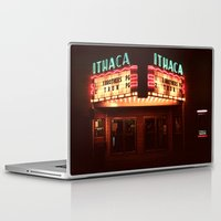 theater Laptop & iPad Skins featuring Night Lights Ithaca Theater by David Hohmann