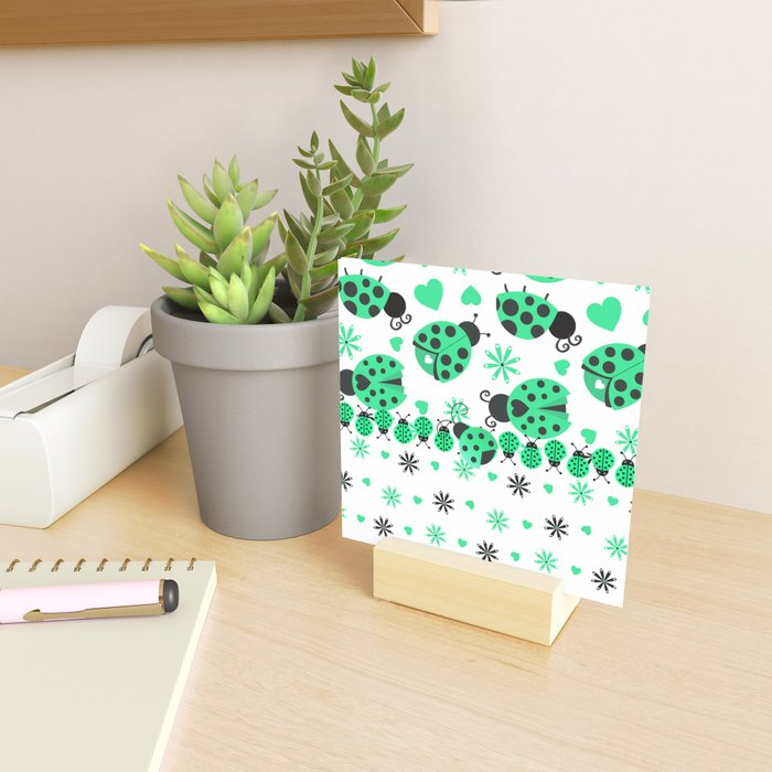 Cute Ladybugs green Mini Art Print