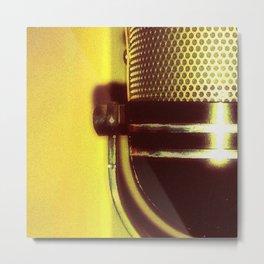 Vintage Microphone (yellow) Metal Print
