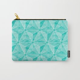 Geodesic Palm_Turquoise Carry-All Pouch