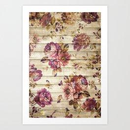 Rustic Vintage Country Floral Wood Romantic Art Print