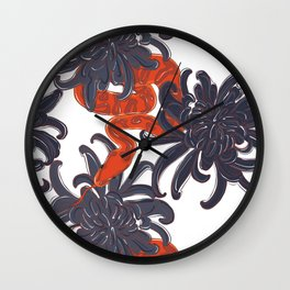 Snake and flowers Wall Clock