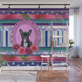 French bulldog in Frame with Gerbera flowers Wall Mural
