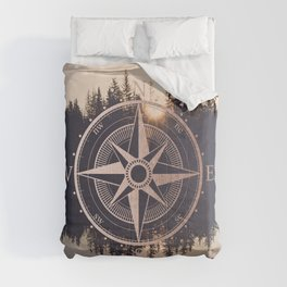 Rose Gold Compass Forest Comforters