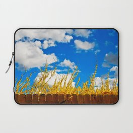 clouds+blue+yellow+fence Laptop Sleeve