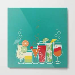 Summer Fruity Cocktail Party on Teal Background Metal Print