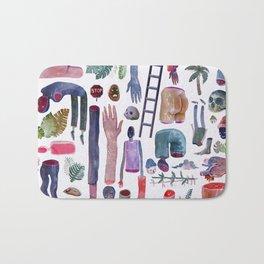 Stuff Pattern Watercolor Bath Mat