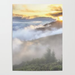 Sunrise and Dust - Mountains - Forest - Wood - Trees - Fog Poster