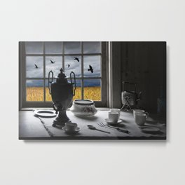 The View From My Window With Crows Over A Wheatfield Metal Print