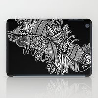 banana leaf iPad Cases featuring Banana Leaf Black & White Doodle Art Black Edition by martywoodskk