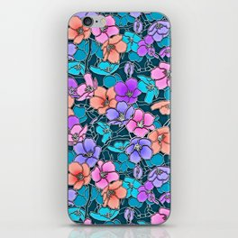 Modern abstract teal coral pink navy blue floral iPhone Skin