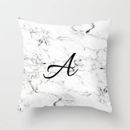 Letter A on Marble texture Initial personalized monogram Throw Pillow