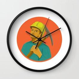 Coal Miner Pick Axe Circle Watercolor Wall Clock