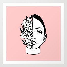 Tumblr style design woman flowers white and black draw Art Print