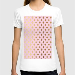 Queenlike - pink and gold elegant quatrefoil ornament pattern T-shirt