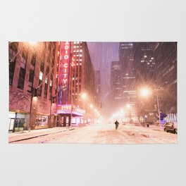 Snowstorm in New York City Rug