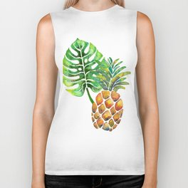 Monstera Pineapple Biker Tank