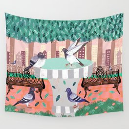 Pigeons in Central Park Wall Tapestry