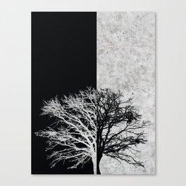 Natural Outlines - Oak Tree Black & Concrete #402 Canvas Print