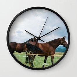 Horses in Tatras Wall Clock