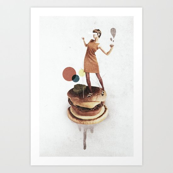 These Burgers Are Crazy | Collage Art Print