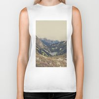pink Biker Tanks featuring Mountain Flowers by Kurt Rahn