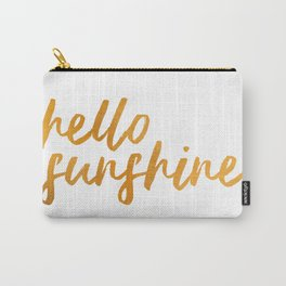 Hello Sunshine - Gold and white background Carry-All Pouch