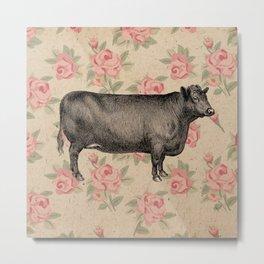 COW VINTAGE FLORAL Metal Print