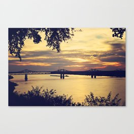Golden Mississippi River Sunset Canvas Print