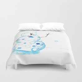 Snowman in a Snowball Fight! Duvet Cover