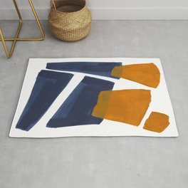 Colorful Minimalist Mid Century Modern Shapes Navy Blue Yellow Ochre Sharp Shapes Rug